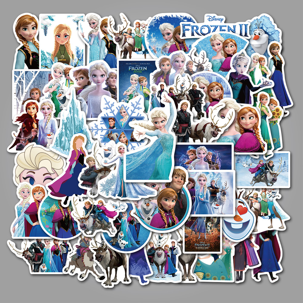 50 Pcs Stickers Princess Elsa Graffiti Sticker For Kids On Laptop Skateboard Suitcase Bike