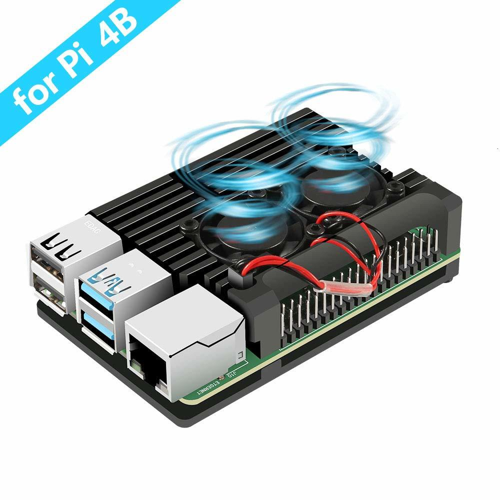 Raspberry Pi 4 4B Metal Case Raspberry Pi Case With Dual Cooling Fan Aluminium Alloy Protection Cases For RPI 4/4B
