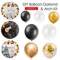 120 шт воздушные шары на день рождения черные золотые воздушные шары для свадьбы вечеринки декоративные шары латексные Макарон детские игру...