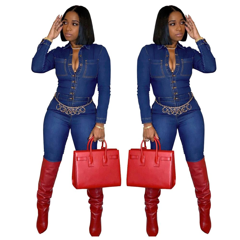Купить осенне зимние женские джинсовые обтягивающие комбинезоны с отложным