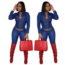 Осенне зимние женские джинсовые Обтягивающие Комбинезоны с отложным