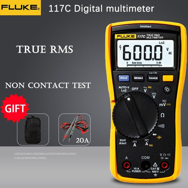 Цифровой мультиметр Fluke 117c HAVC voltalalert с ЖК-дисплеем и подсветкой, тестер напряжения true RMS, испытание напряжения переменного/постоянного тока