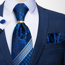 Men's Tie Handkerchief Necktie-Set Silk Wedding Blue Formal Cuffink Business Dibangu