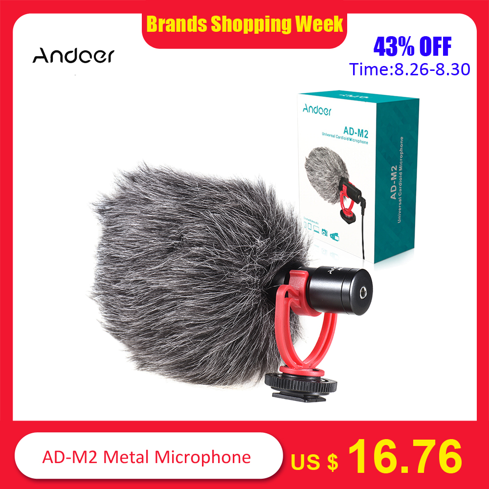 Andoer Microphone Camcorder Video-Mic Dslr-Camera Nikon Sony Canon AD-M2 Metal For Huawei