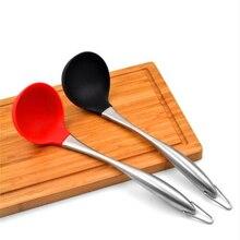 Силиконовая ложка для супа с антипригарным жаростойким совком с полой ручкой из нержавеющей стали кухонные инструменты для приготовления пищи ложки для супа