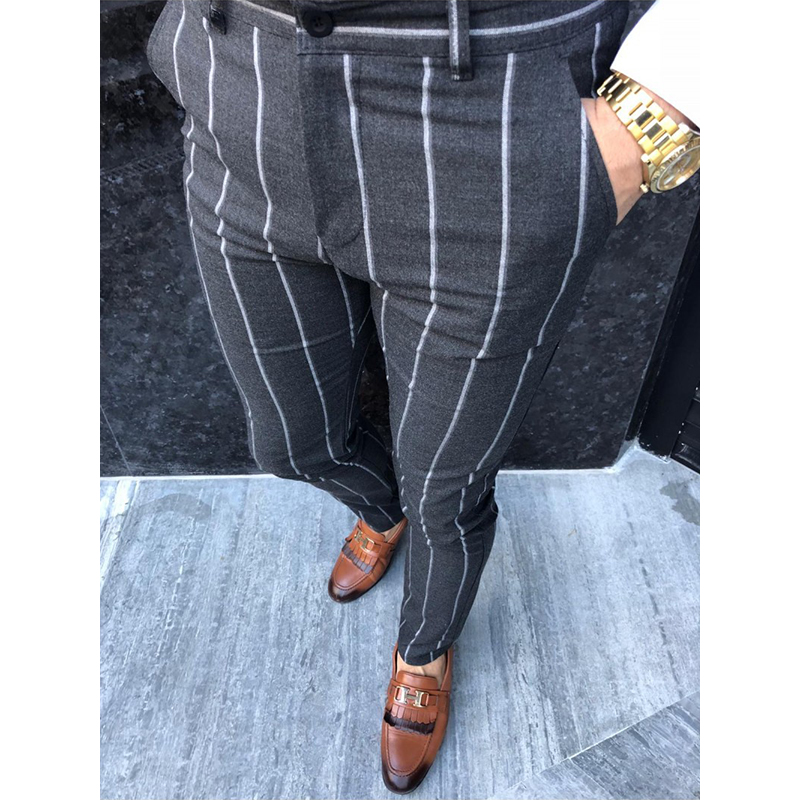 New Autumn Men's Fashion Stripe Social Pants Casual Slim Fit Business Elastic Long Trousers Male Cotton Party Button Streetwear