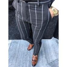חדש סתיו גברים של אופנה פס חברתיים מכנסיים מקרית Slim Fit עסקים אלסטי ארוך מכנסיים זכר כותנה מסיבת כפתור Streetwear