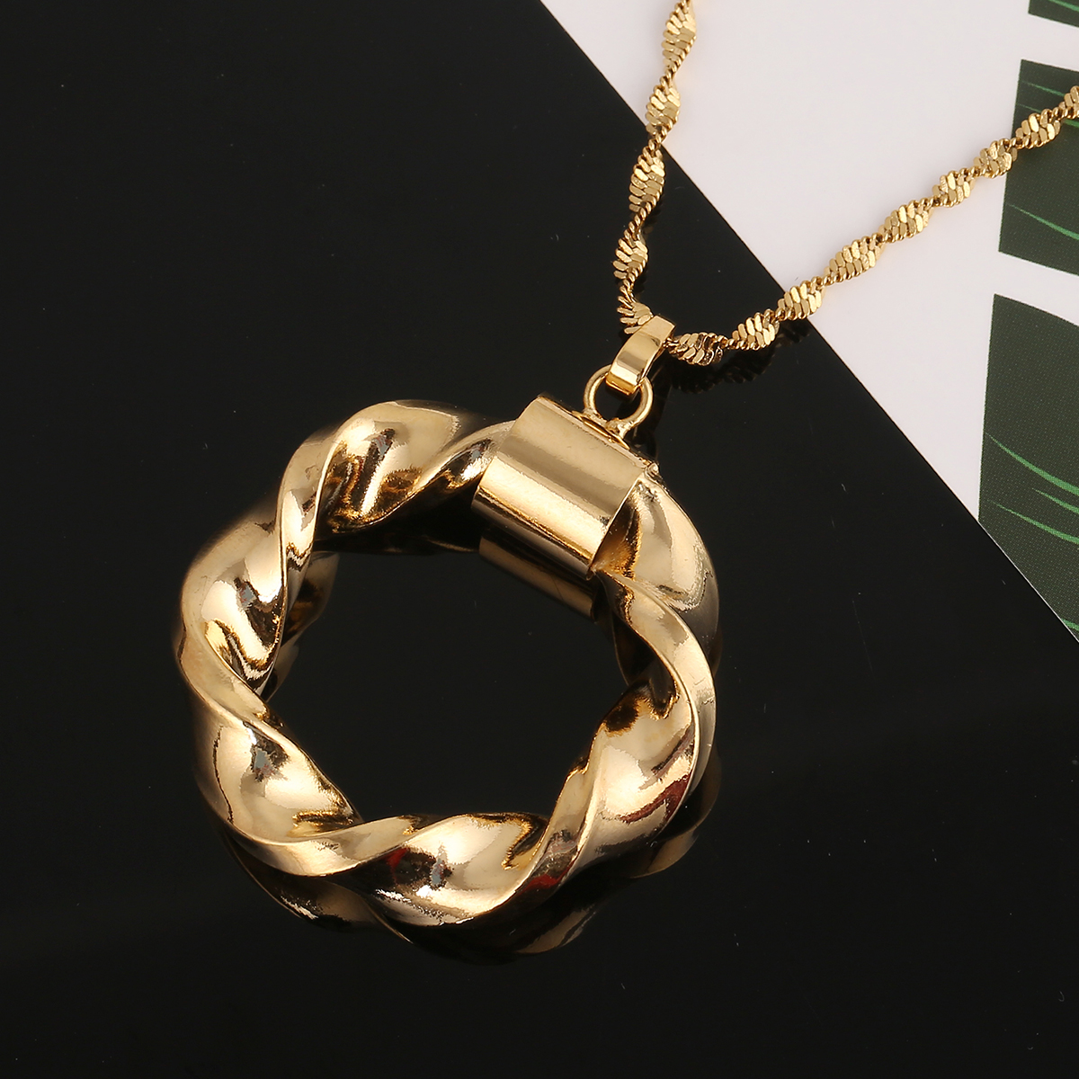 Dubai Gold Color Ethiopian Round Pendant Necklace African Jewellery for Israel Sudan Arab Middle East Women