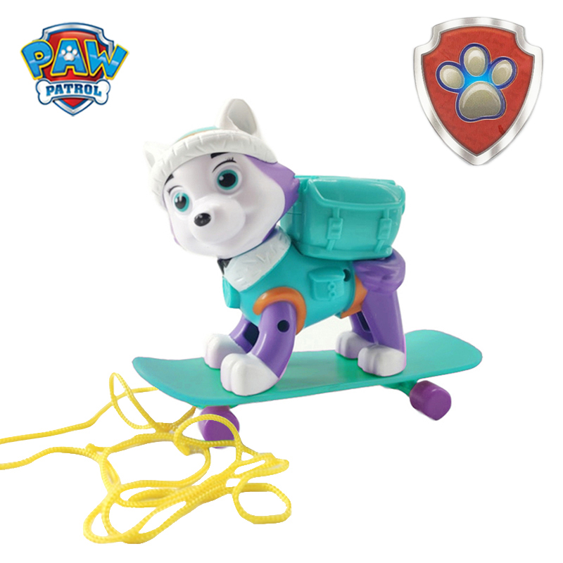 New Paw Patrol Everest Tracker Dog Skateboard Puppies Can Be Deformed Patrol Patrulla Canina Doll Toys Action Figure Model Toys