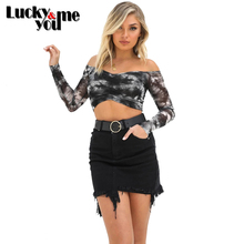 2020 New Arrive Womens Summer Sexy Printed Chiffon Slash Neck Full Sleeve Crop Tops Female Thin Sheer Short Pullover