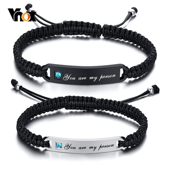 Vnox Personalized Handmade Braided Bracelets for Couples Stainless Steel Bar AAA CZ Stone Women Men Birthday Anniversary Gift vnox customize name quotes leather bracelets for men glossy stainless steel layered braided bangle personalized dad husband gift