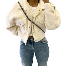 Женская флисовая белая укороченная куртка пальто Модный осенне