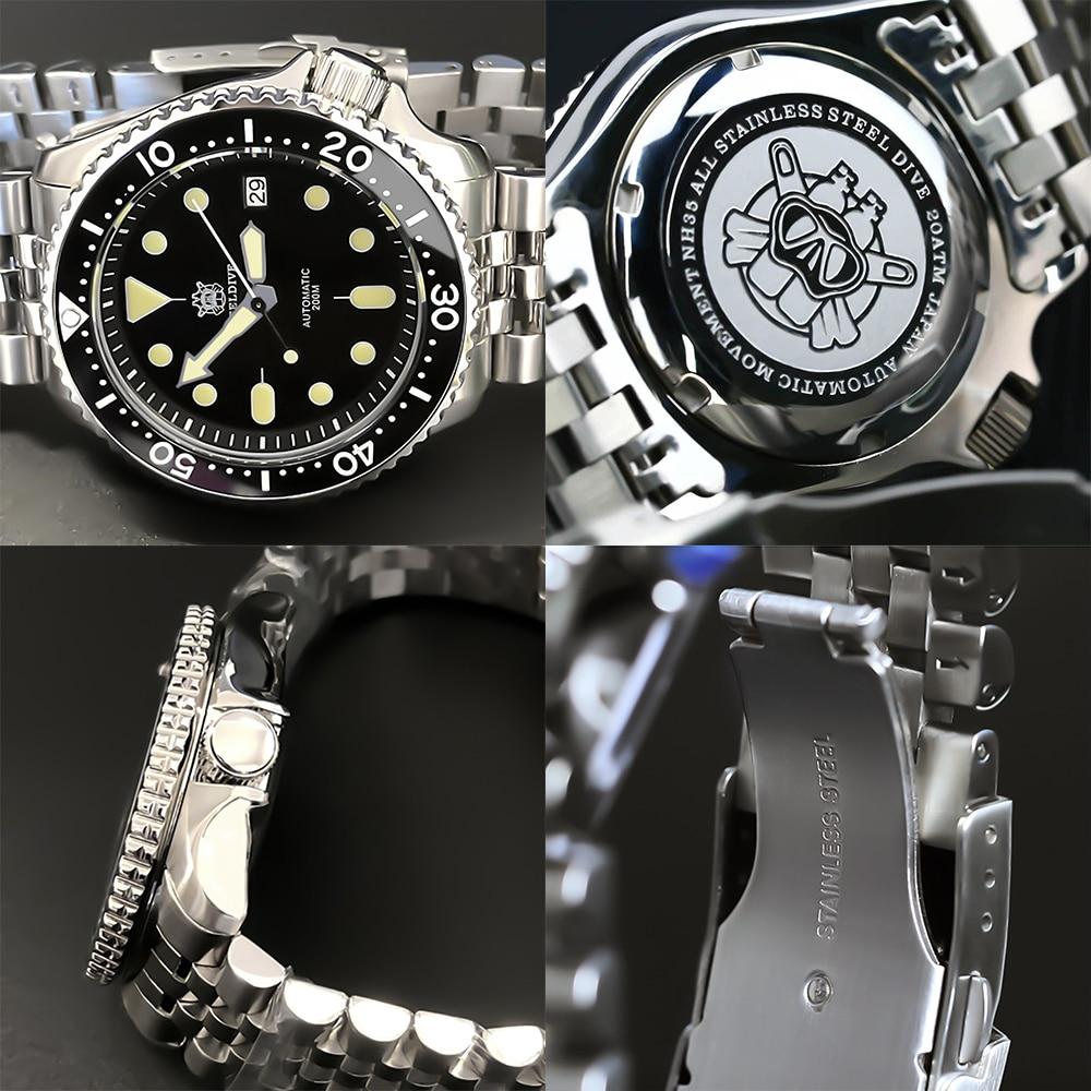 STEELDIVE 1996 Mens Automatic watch Abalone NH35 200m Diver Watches skx007 Ceramic Bezel waterproof Japan Mechanical Watch men