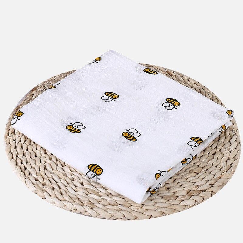 1 шт., муслин, хлопок, детские пеленки, мягкие одеяла для новорожденных, для ванной, марля, Детская накидка, спальный мешок, чехол для коляски, игровой коврик - Цвет: Bee