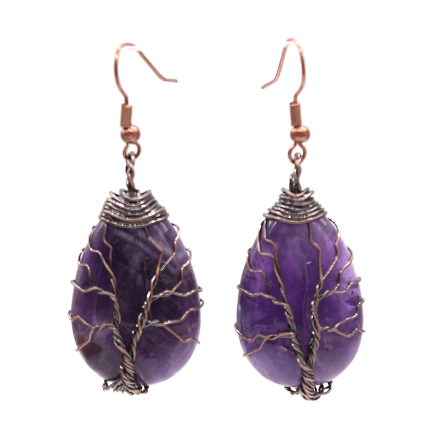 100-Unique 1 Pair Copper Plated Wire Wrap Water Drop Natural Purple Amethysts Earrings Elegant Women Jewelry