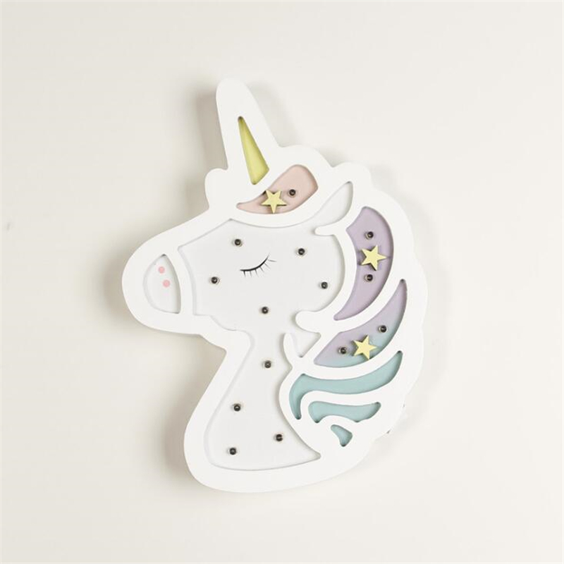 INS Originality unicorn lamp LED Night Light Nordic Cartoon Wall Hanging Children Room Decorative Lamp Baby Photographic Props