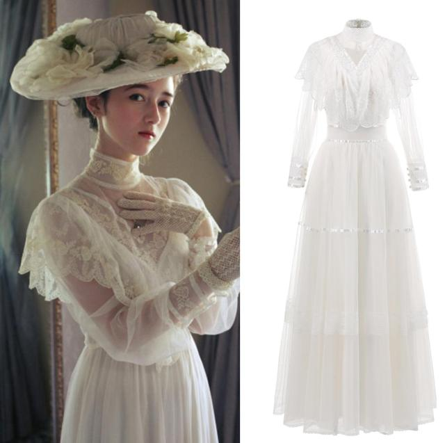 High Neck Tulle Wedding Dress Medieva Victorian Vintage 2020 Long Sleeve Lace Garden Country Lady Bridal Bridesmaid Dress 1098#