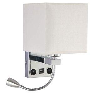 Современный светодиодный настенный светильник прикроватный Спальня аппликация бра с переключатель USB интерьер фон с имитацией изголовья, ...