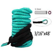 Cable de cuerda de cabrestante sintético verde, cuerda de 6mm x 15m, resistente, 10000lbs, UHMWPE, con funda, accesorios para coche