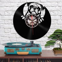 2019 Home Living Dog Theme Best 3D Art Mirror Wall Clock Vinyl Record Wall Sticker Decoration for Home