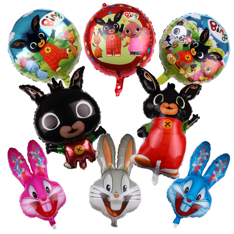 Bing Bunny Ballon 18 Inch Rabbit Happy Birthday Aluminium Foil Helium Balloons Party Decorations Baby Children Decor Kids Toy