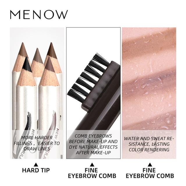 Menow 1pc eyebrow Waterproof Black Brown Eyebrow Tattoo Pencil Long-lasting Eyebrow Enhancer with Brush Makeup Cosmetic Tools 5