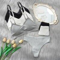 2PCS Bra Set Women Sexy Bralette Sexy Female Underwear Lingerie Basic Stretchy Tank Crop Top Ribbed Tops Girls Fashion Brassiere 1