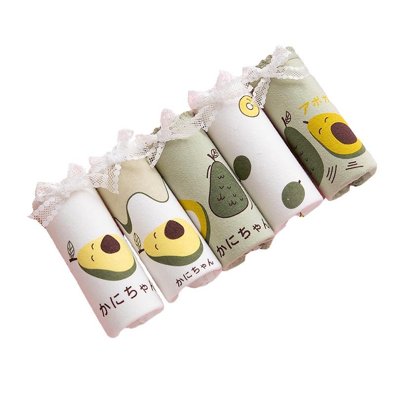 High Quality Avocado Briefs 4Pcs/Lot Girl Panties Green underwear Cotton Lingerie Comfortable Panty