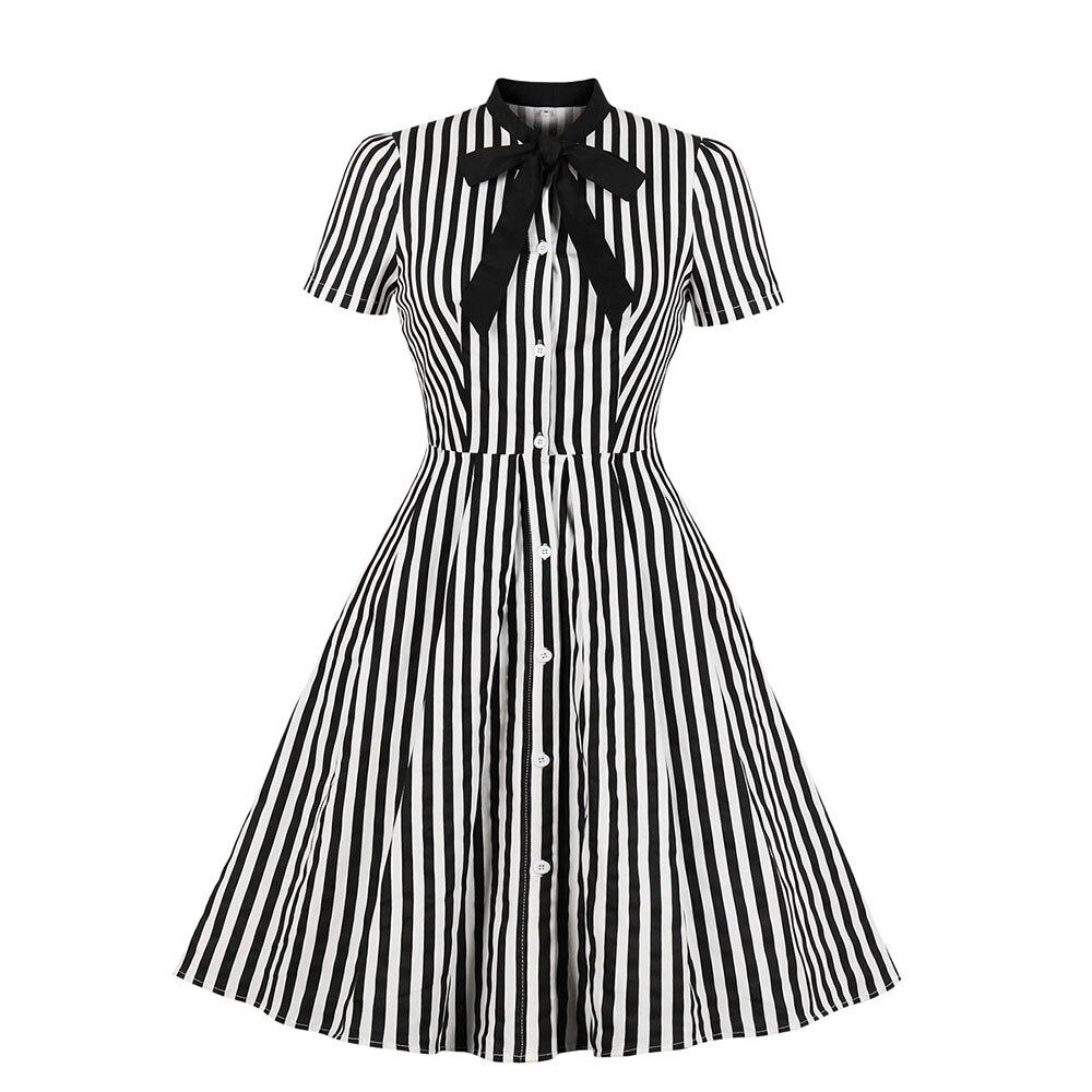 2019 Vintage Streifen Midi Kleid Frauen Sommer Fliege Kragen Kurzarm Elegante Büro Casual Stilvolle Goth Rockabilly Kleider