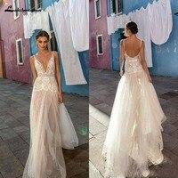 Sexy Country Gali Wedding Dresses V Neck Tulle Lace Side Slit Bridal Gowns Beach Boho vestido de novia Sheer Backless Summer