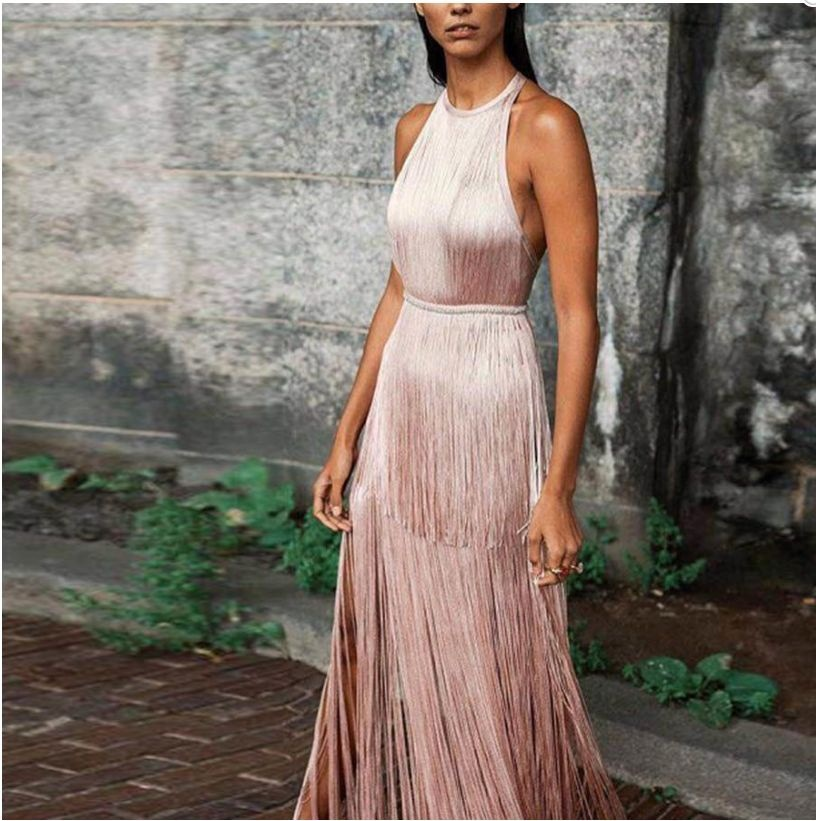 Sexy Ladies Dress Women Solid Color Halter Cocktail Party Dress Round Neck Sleeveless Elegant Long Tassel Fringe Dresses
