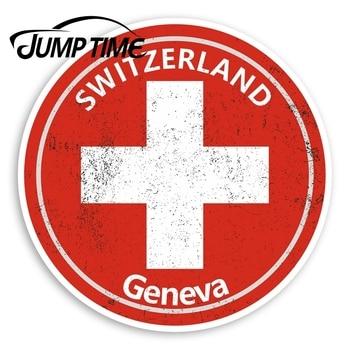 Pegatinas de vinilo para salto de tiempo, Ginebra, Suiza, pegatina de viaje con bandera, accesorios para parachoques de ventana de coche