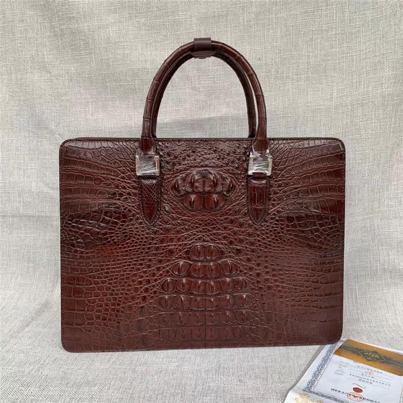 Authentic Crocodile Skin Coded Lock Closure Businessmen Laptop Briefcase Genuine Alligator Leather Male Large Portfolio Handbag
