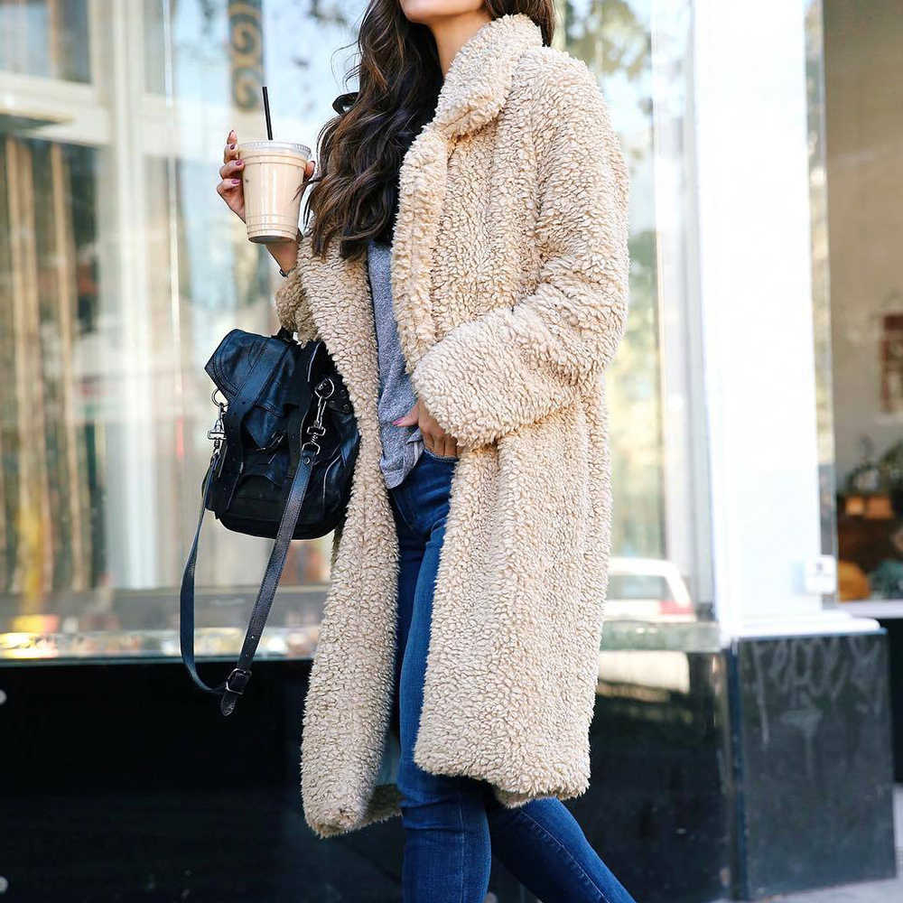Wenyujh Herfst Winter Faux Fur Coat Vrouwen Warm Teddybeer Jas Dames Bont Jas Vrouwelijke Teddy Uitloper Pluche Overjas Lange jas