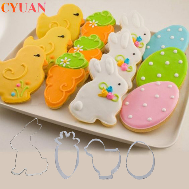 Easter Eggs Rabbit Chick Radish Cookies Cutter Mold Stainless Baking Cake Decorating Tools Happy Easter Decoration For Home