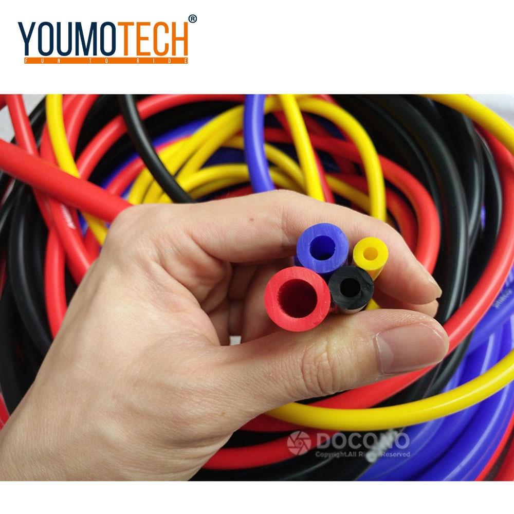 חדש אוניברסלי 5 מטר 3mm/4mm/6mm/8mm סיליקון צינור ואקום צינור סיליקון צינורות כחול אדום צהוב אביזרי רכב