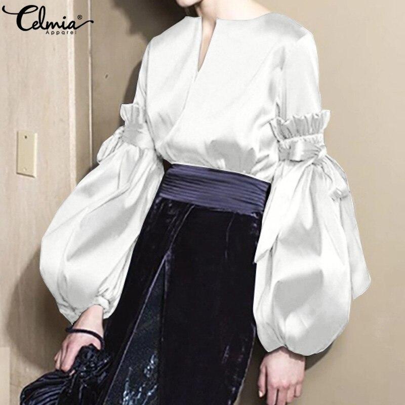 S-5XL Fashion Women Satin Silk Blouse Celmia Ladies Casual Long Lantern Sleeve Bow V-neck Shirts Elegant Plus Size Stylish Tops