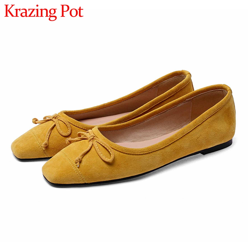 Krazing Pot Sweet Bowtie Soft Genuine Leather Flat With Shoes Square Toe Slip On Breathable Daily Wear Big Size Women Shoes L51