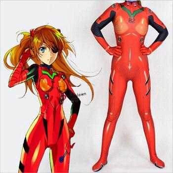 Asuka Langley Soryu Jumpsuits Anime Ayanami Rei Cosplay Costume Women EVA Top Warrior Halloween Costume Zentai Suit Bodysuit цена 2017