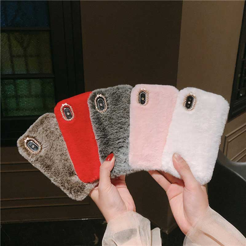 <font><b>Luxury</b></font> Fluffy Furry Plush <font><b>Fur</b></font> Pink Phone <font><b>Case</b></font> for <font><b>iPhone</b></font> XR XS Max X 6 6s 7 8 Plus Xs White Plush Silicone Covers for Women gift image