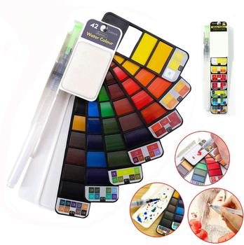 San 18/25/33/42 Solid Paint Set Watercolor With Water Brush Pen Foldable Travel watercolor pigment set superior watercolor drop 21 colors solid watercolor palette pigment powder paint set with water brush watercolor paper watercolor pen watercolors box set