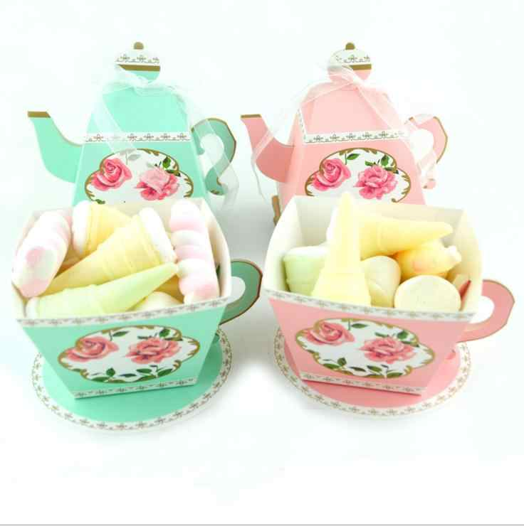 1 PCS Teapot Shape Cup Shape Favor Boxes Gift Box Tea Time Teapot Favor Box Party Decoration Candy Box For Tea