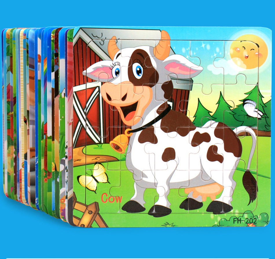 Cartoon Puzzles Animal Fruit Wood 3D Puzzle Learning Education Toys For Children Wooden Puzzles Montessori Aids Kids Gift 20 Pcs