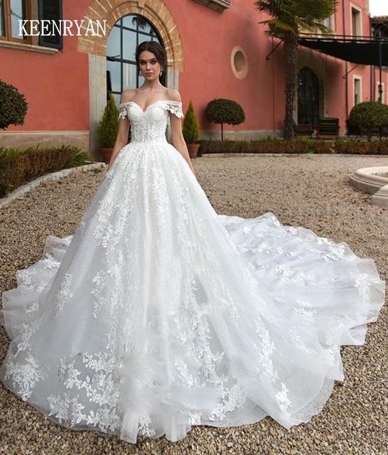 יוקרה תחרה חתונה שמלת 2020 מתוקה Robe דה Mariee Custom להפוך Chaple רכבת חתונת שמלות Vestido דה Novia