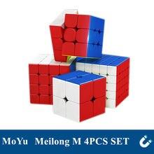 MoYu Meilong M manyetik sihirli küp 2x2 3x3 4x4 5x5 4 adet seti manyetik hız küp eğitici bulmaca oyuncaklar çocuklar için
