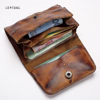Vintage Genuine Leather Card Holder Men Women Handmade Short Credit Card Holder Coin Purse Case Small Wallet For Male 1