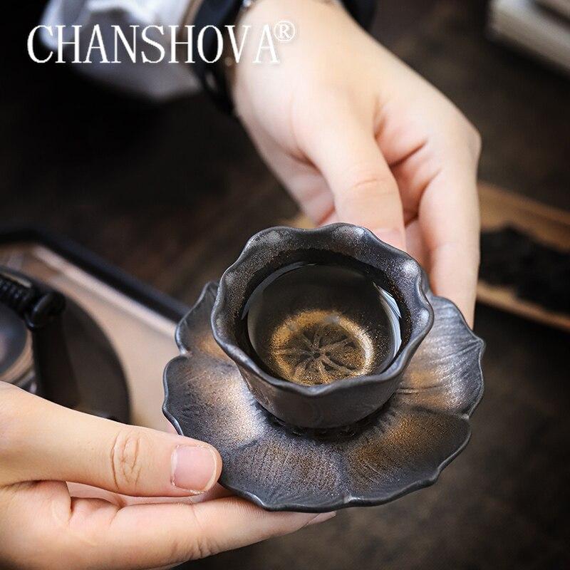 CHANSHOVA  Chinese style Handmade Ceramic gold glaze 50ml tea cup saucer set personality China porcelain H654