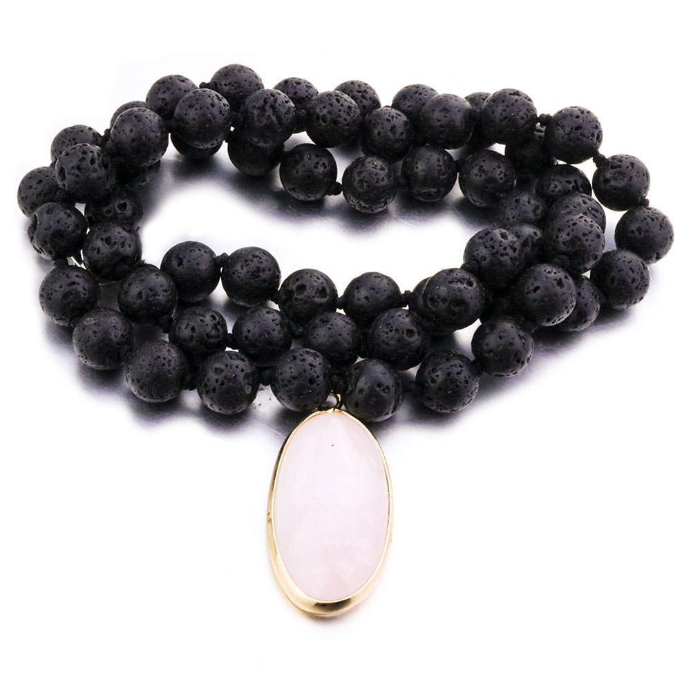 Vintage 8mm 10mm Black Volcanic Lava Rock Beads Chains Necklace Men Jewelry Gift