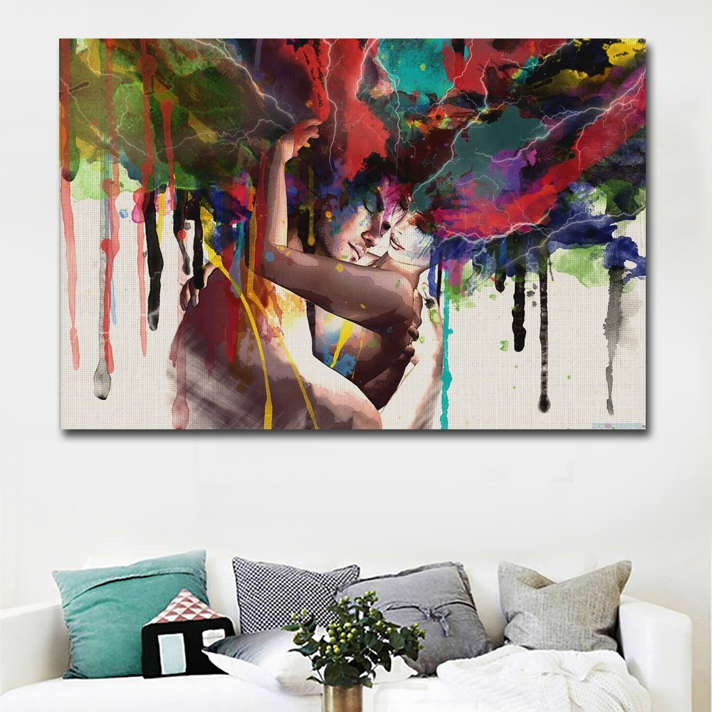 Hot Selling Creative Colored Couple Portrait Painting Abstract Lovers Pictures Living Room Bedroom HD Spray Decorative Painting