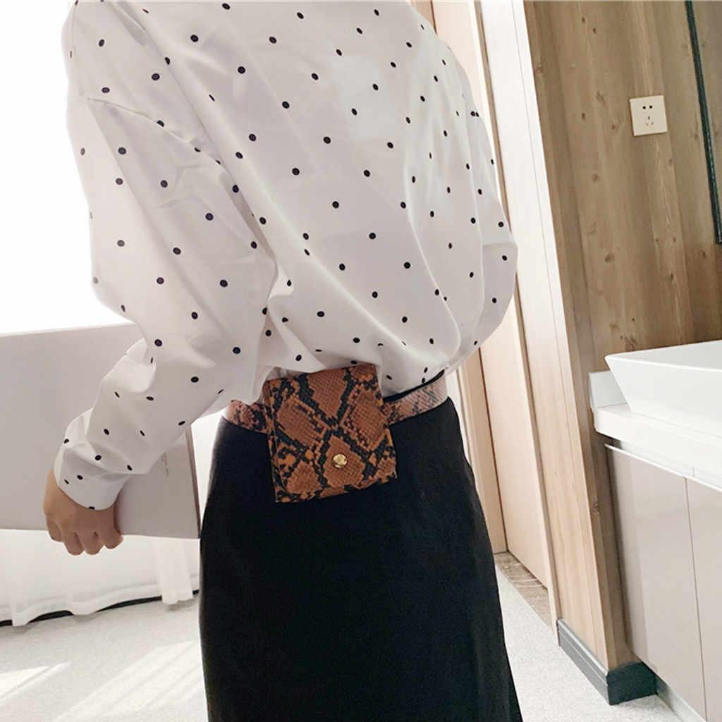 ファニーパックファッション蛇行ウエストバッグ女性革のウエストパックヴィンテージウエストベルトバッグ電話屋外で調節可能なバンド